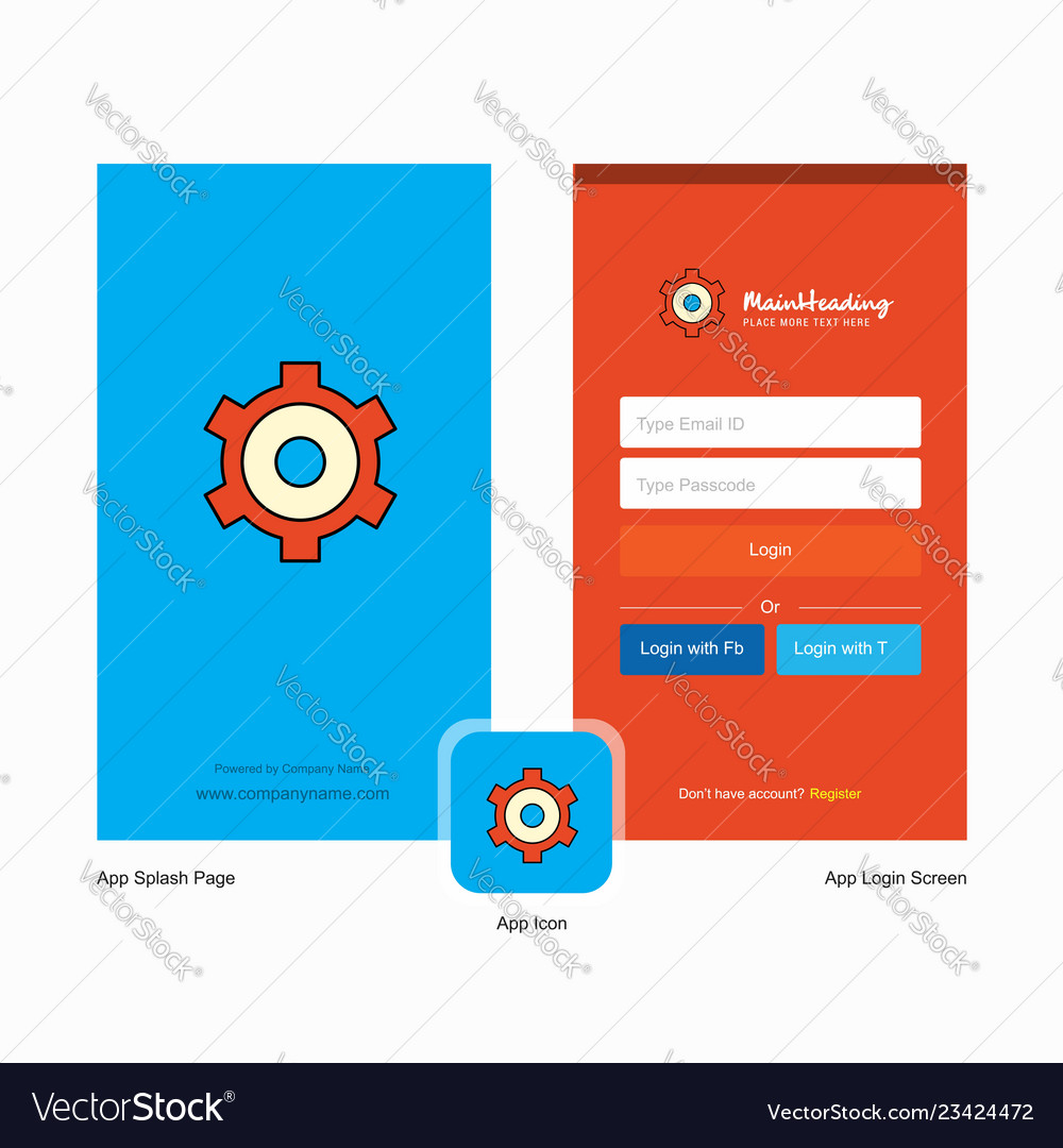 Company setting gear splash screen and login page vector image on  VectorStock