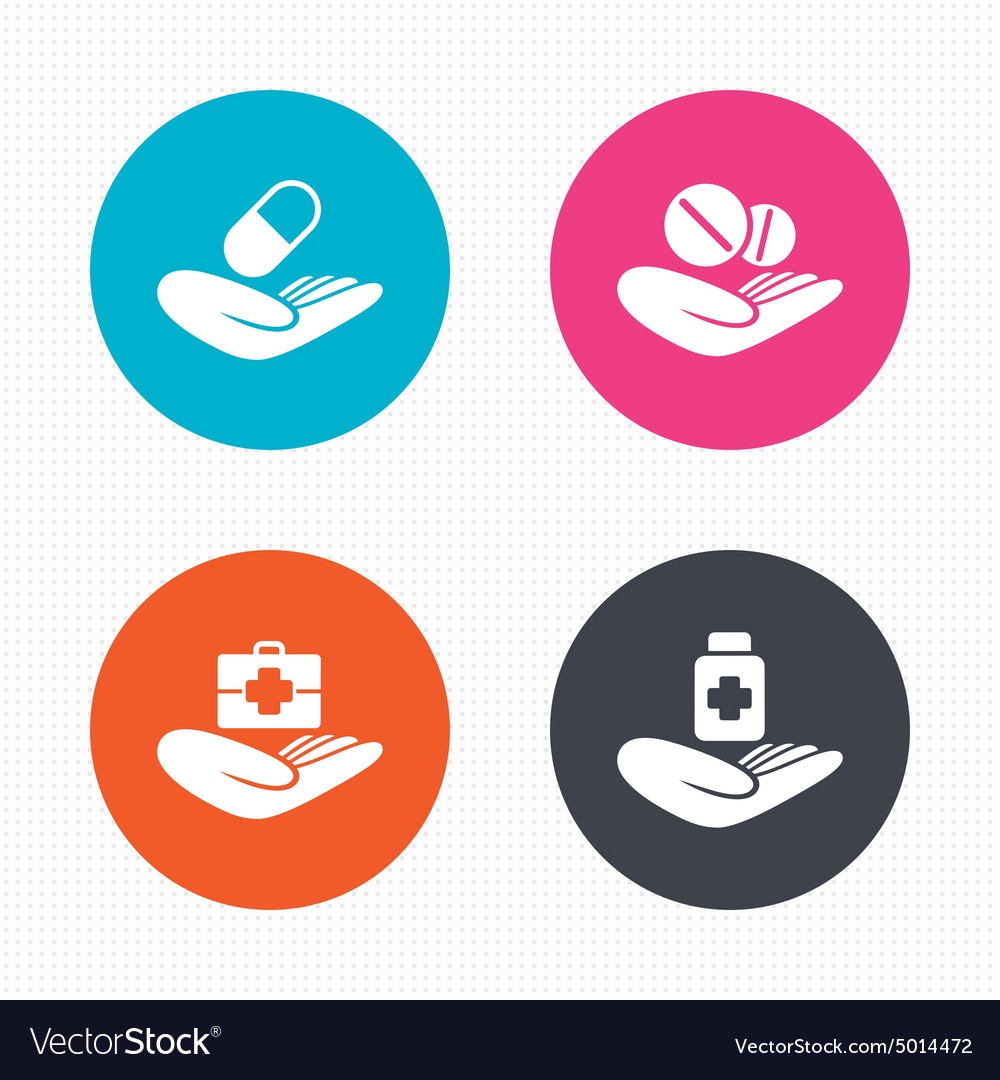 Helping hands icons Medical health insurance vector image