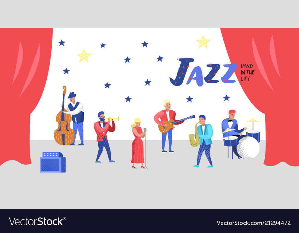 Jazz music characters set musical instruments