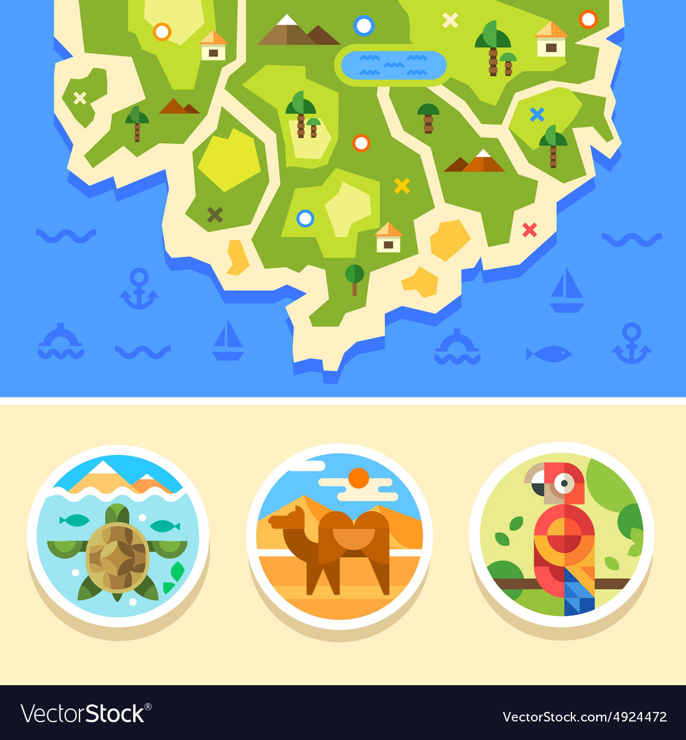 Ocean map with animals emblems