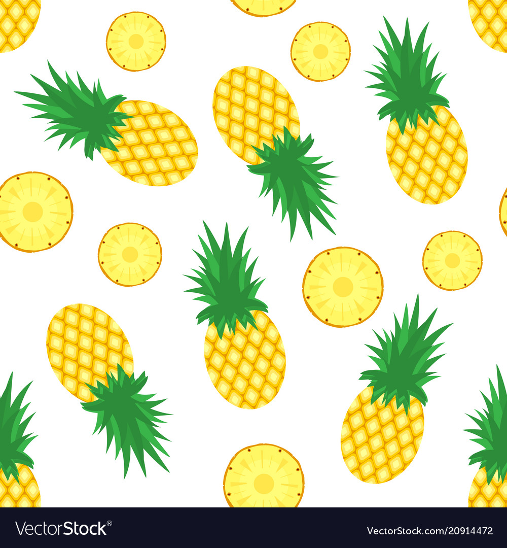 Pineapple background fresh pineapples and slices