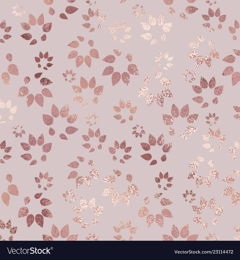 Rose Gold Luxury Texture With Floral Silhouettes Vector Image