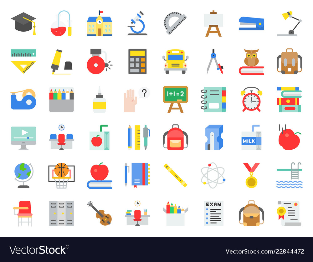 School and education related icon set in flat
