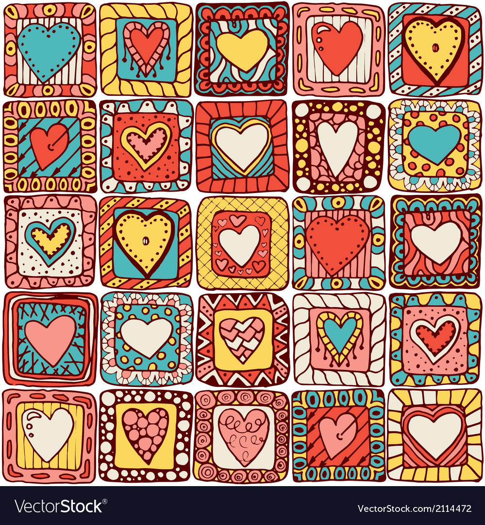 Seamless pattern of original doodle hearts