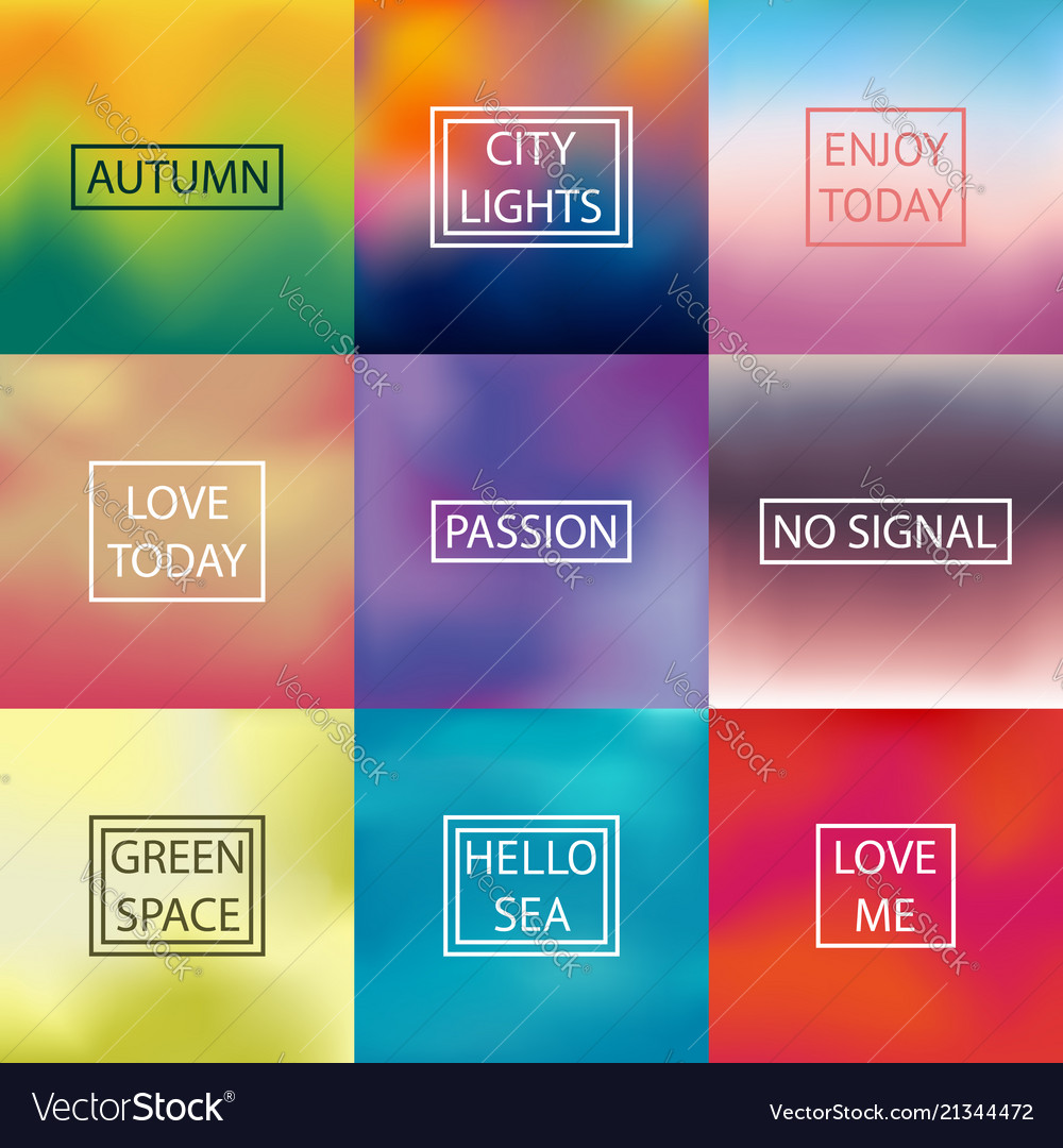 Set of square blurred backgrounds