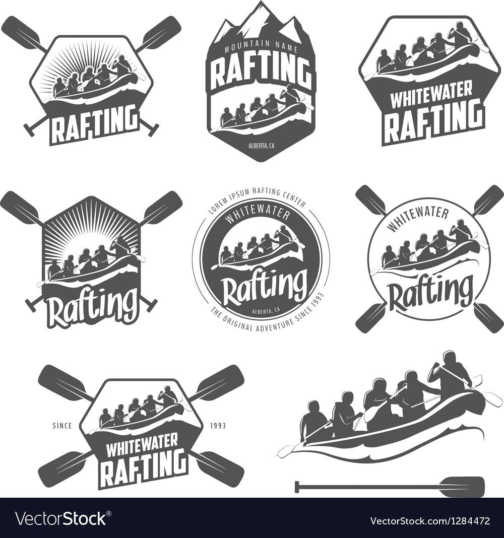 Set of vintage whitewater rafting labels
