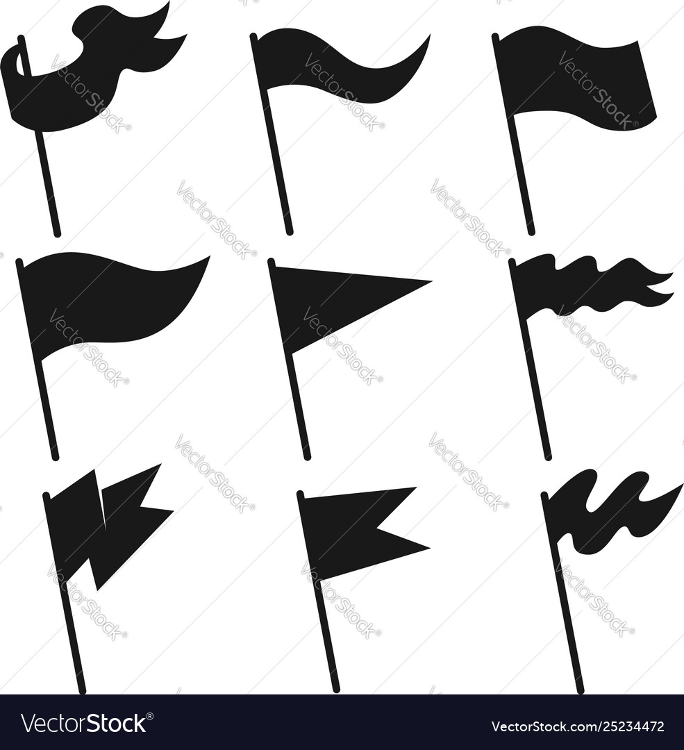 Set vintage flag icons design element