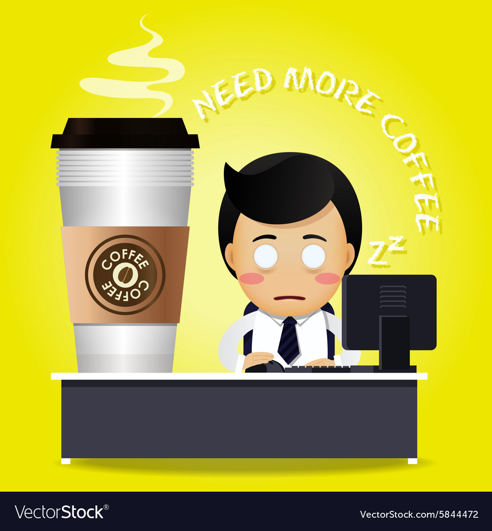 Sleepy man working at desk and many coffee cups