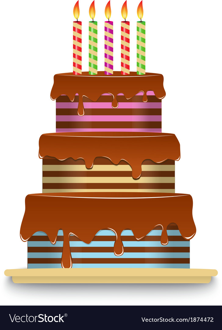 Three Tiered Chocolate Cake With Candles Vector Image