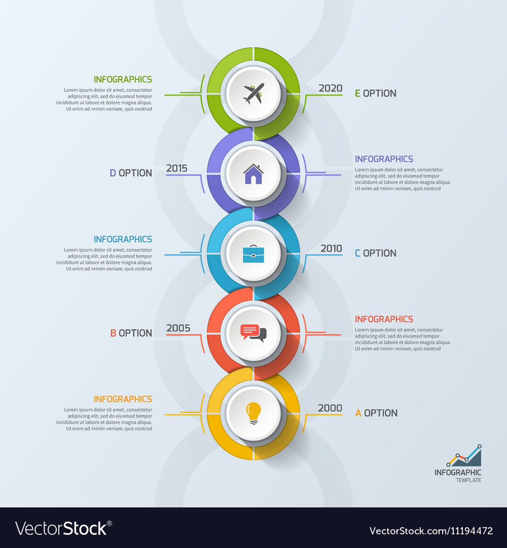 timeline business vertical infographic template 5 vector image