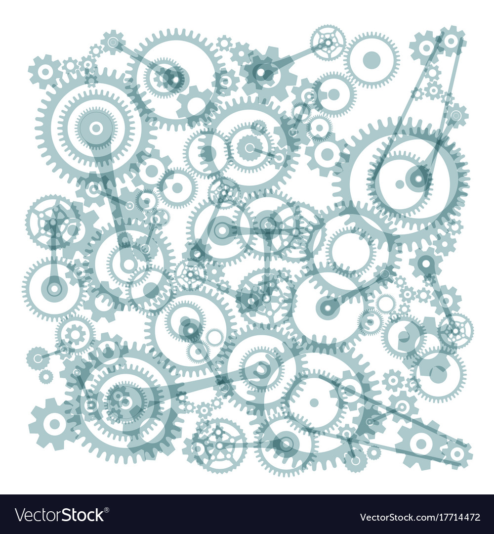 Transparent cogs gears on white background