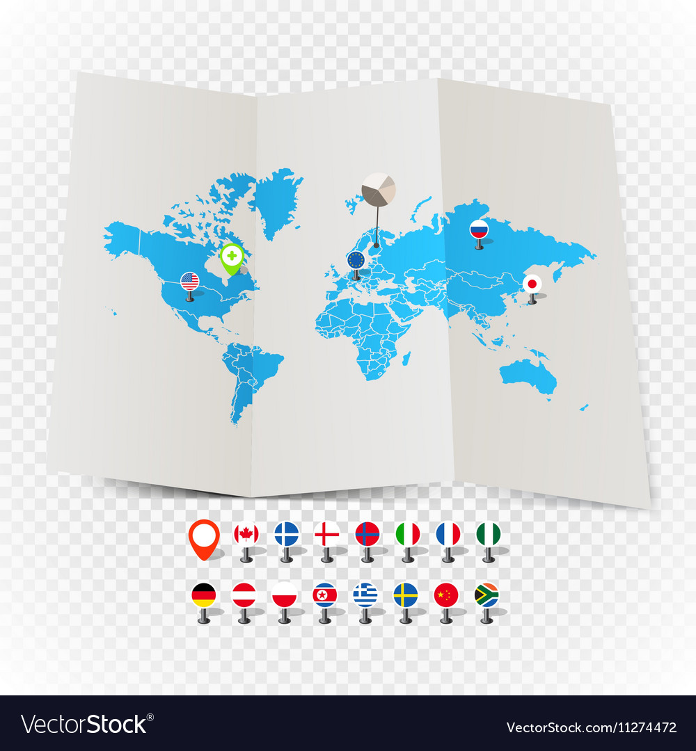 World map on old map and flags of different vector image gumiabroncs Image collections