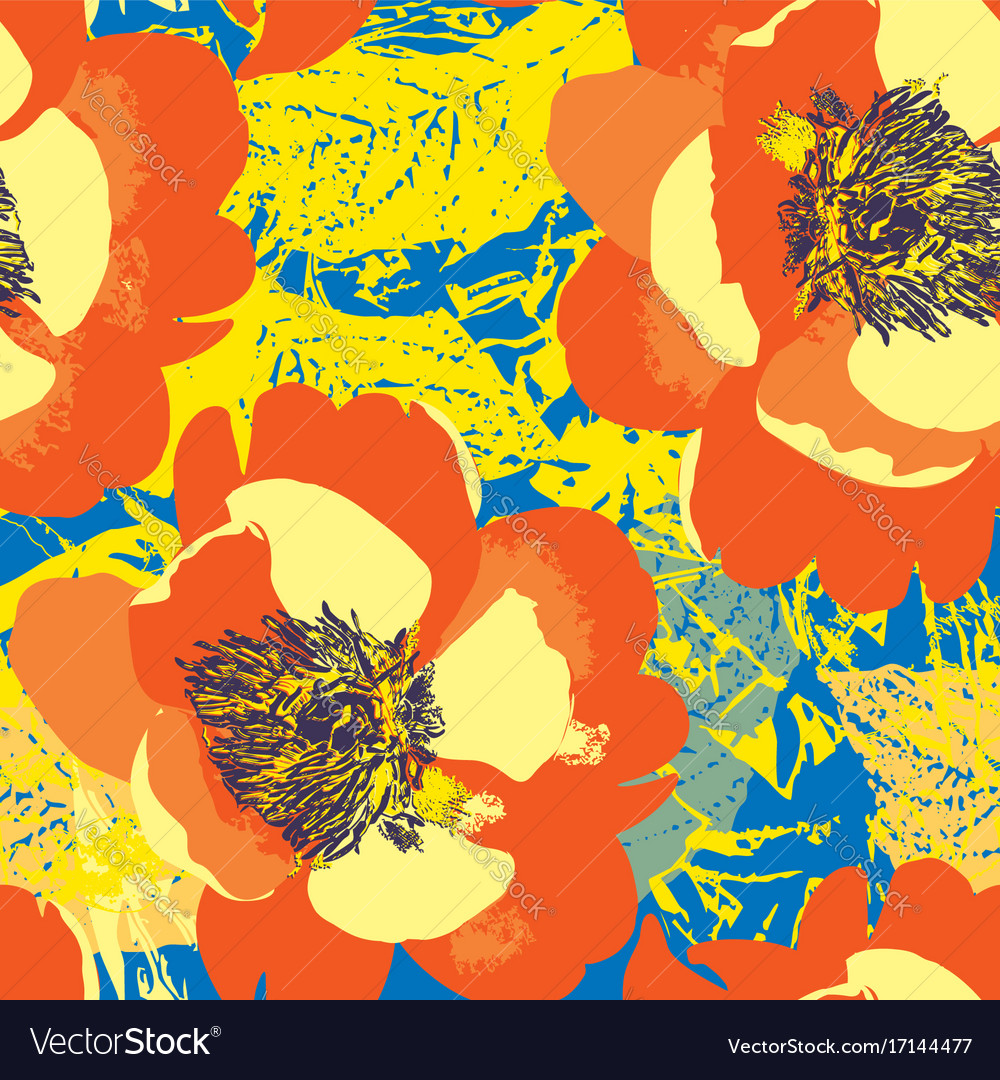 Abstract floral seamless pattern pop art style