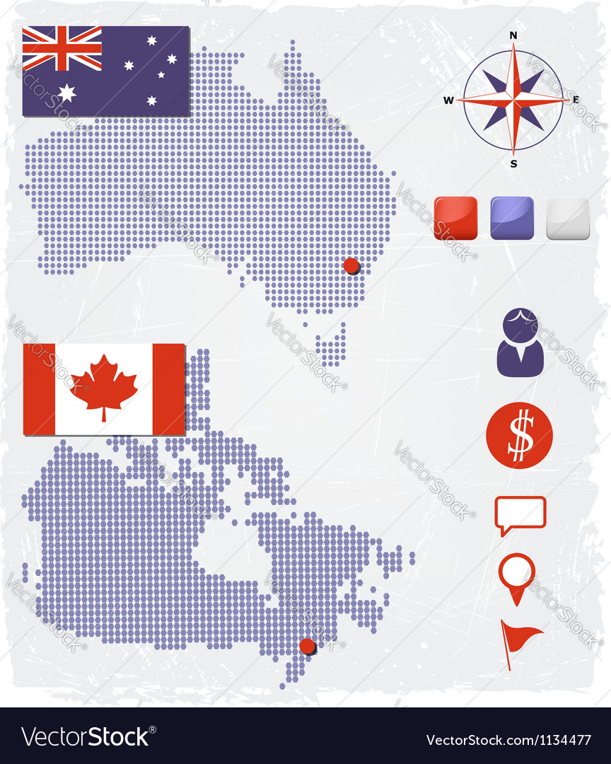 Australia and Canada dotted maps with design eleme