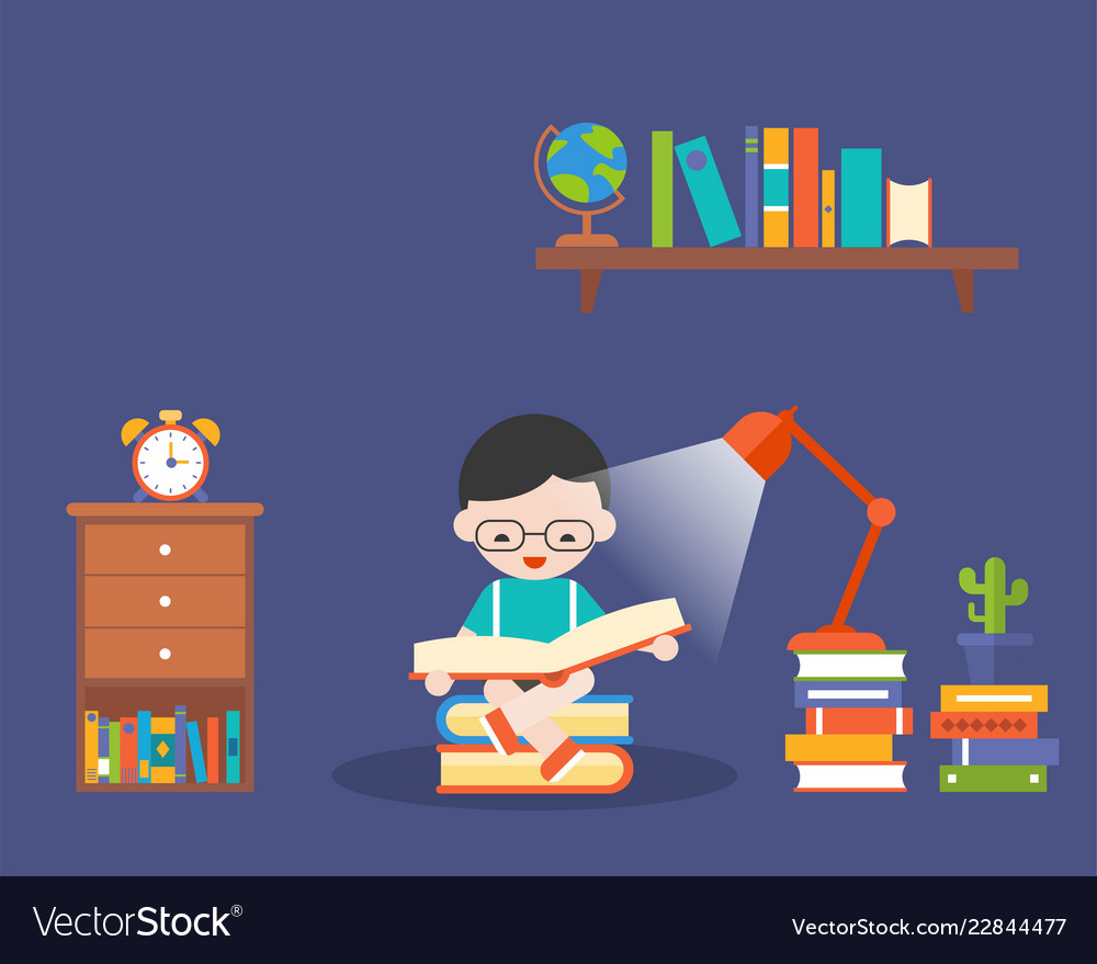 Boy reading book in the dark with lamp and book