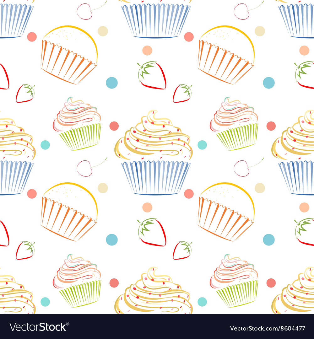Cupcakes food pattern Seamless background