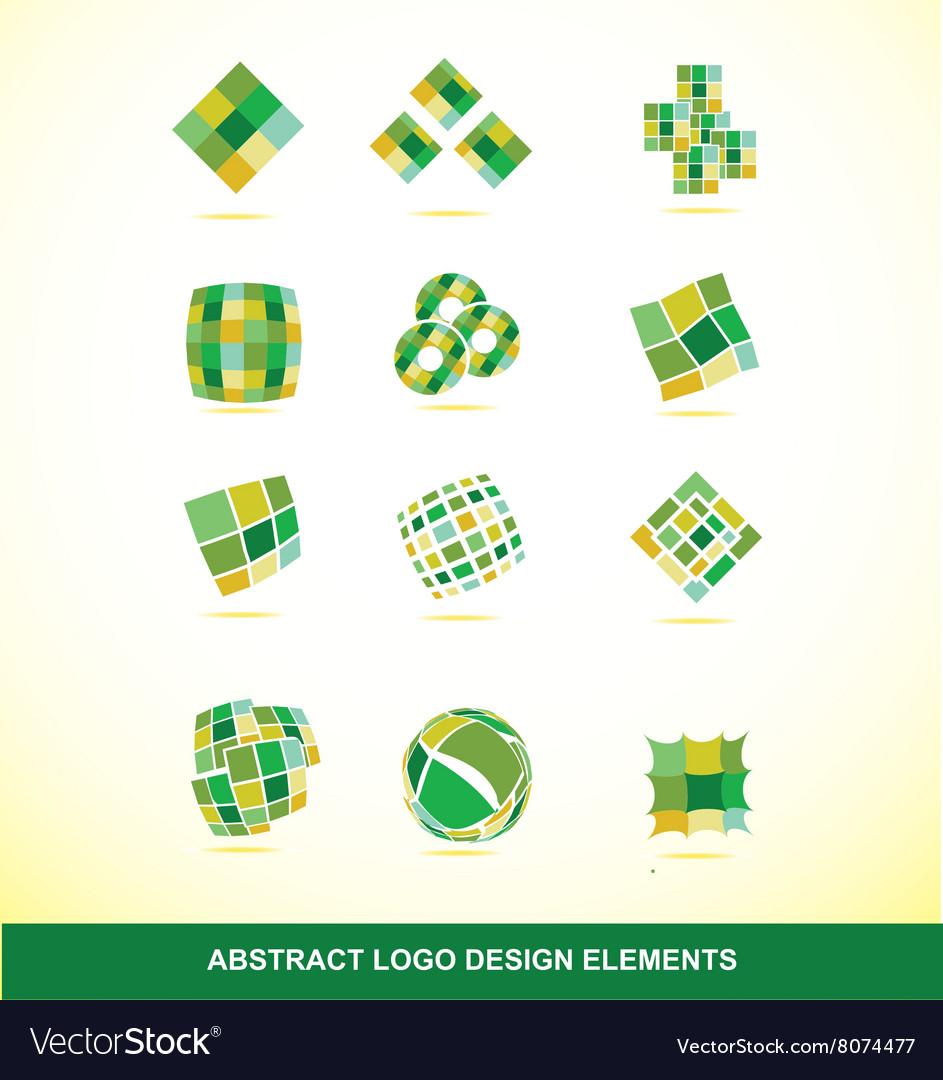 Green logo design elements set