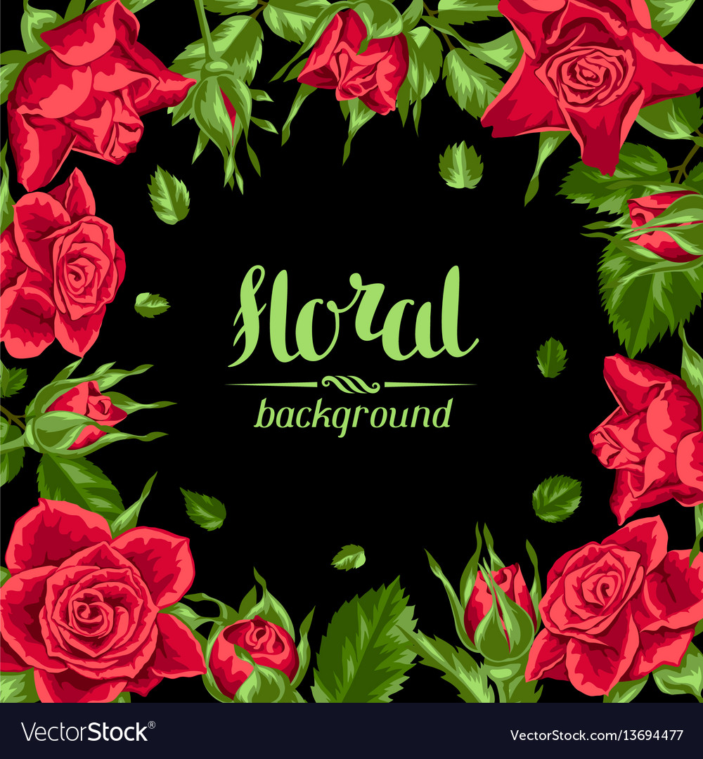 Invitation card with red roses beautiful