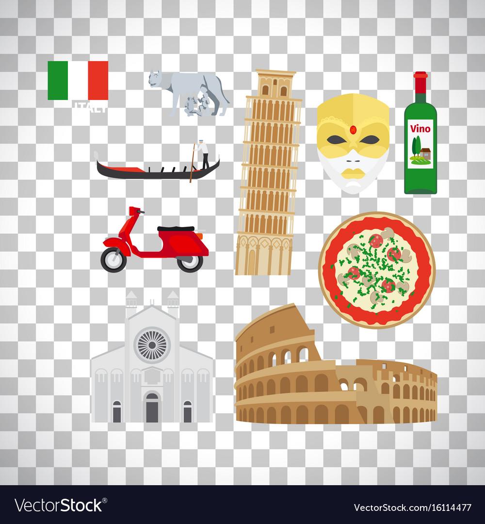 Italy icons set on transparent background
