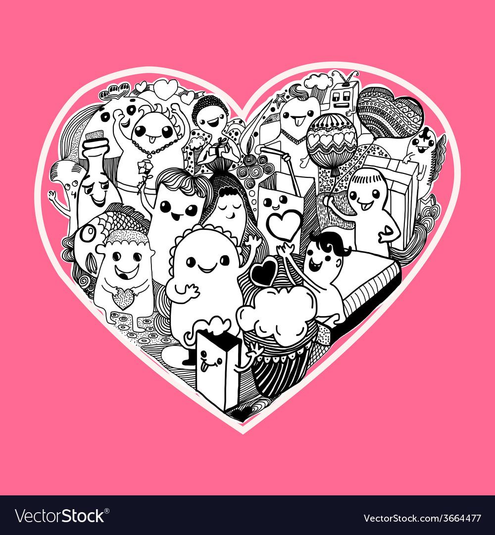 Kawaii heart cartoon