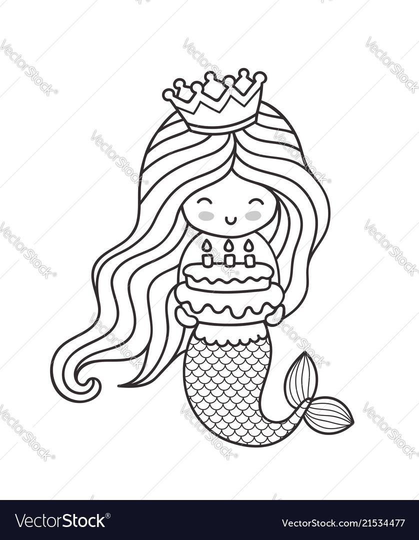 Little happy princess mermaid holding a birthday