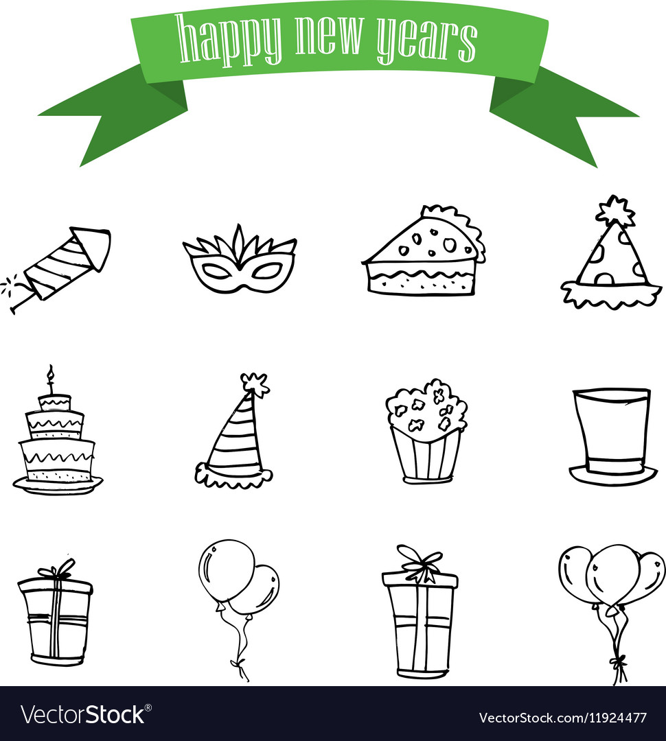New Year and Christmas icons vector image