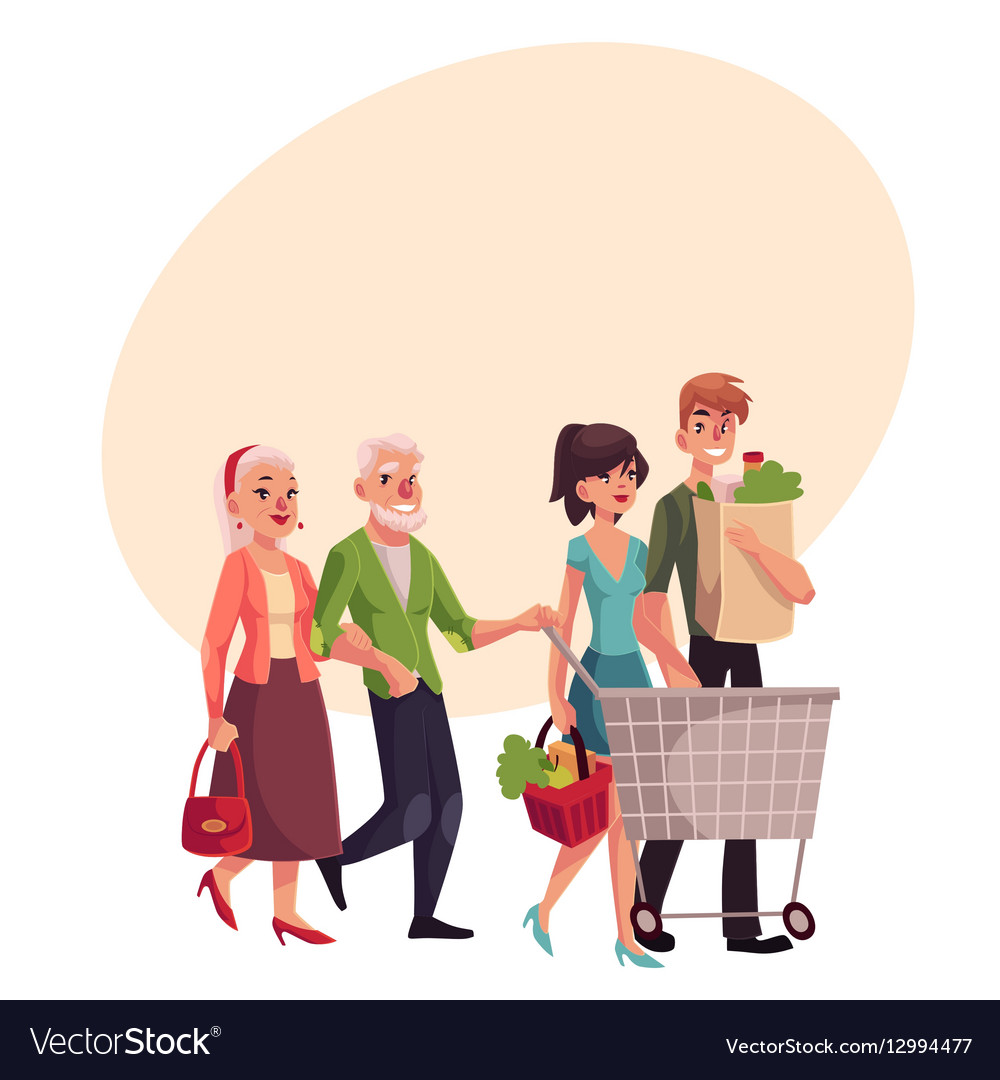 Old and young couples shopping buying food in vector image