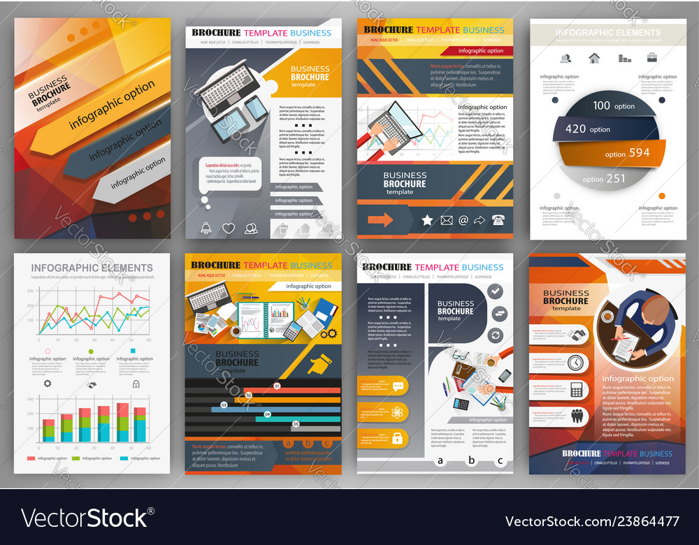 Orange and grey brochure template with