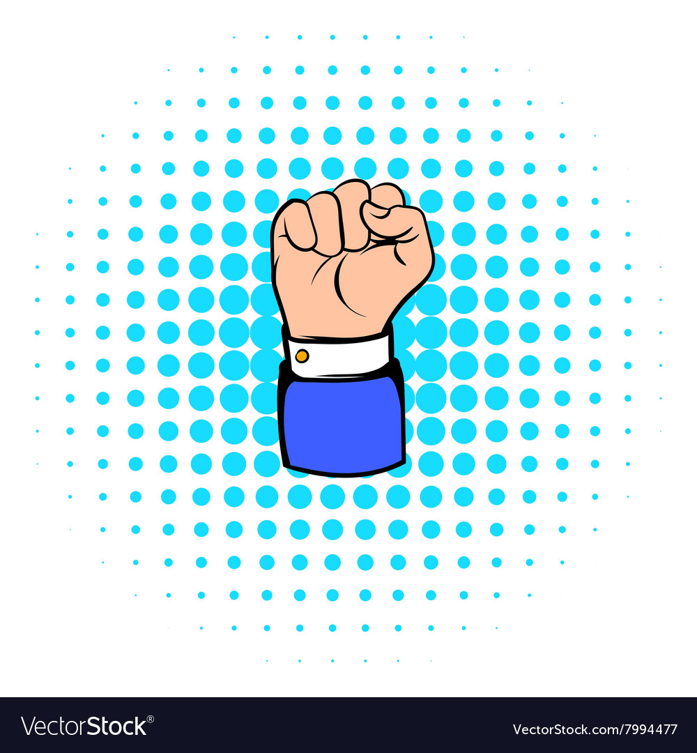 Raised fist hand gesture icon comics style vector image