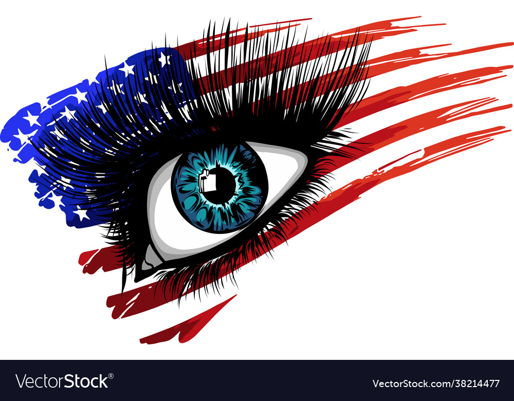 Usa flag in beautiful female eye