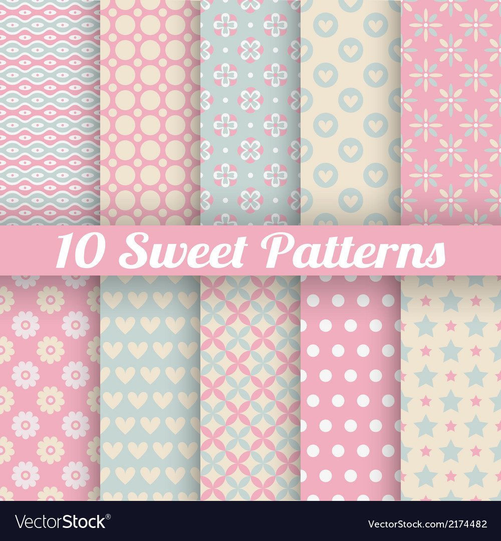10 Sweet cute seamless patterns tiling