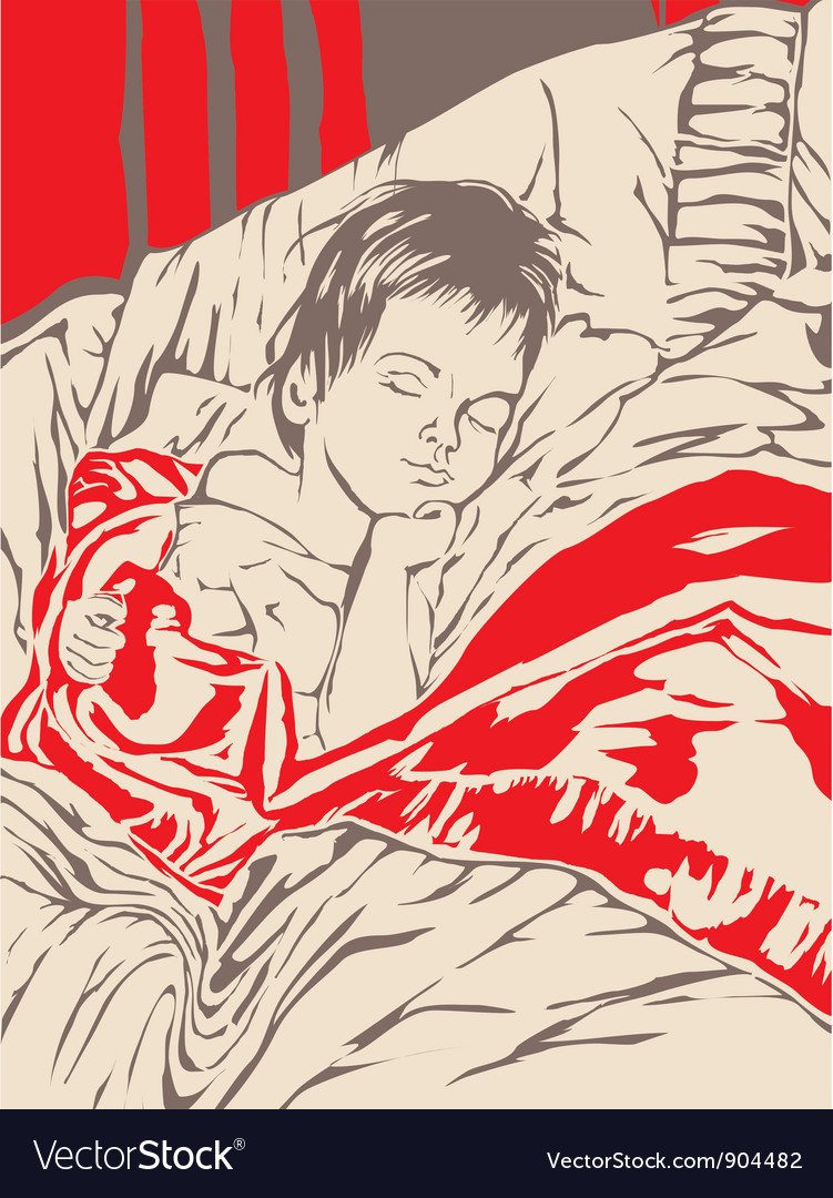 A little boy sleeping in bed vector image