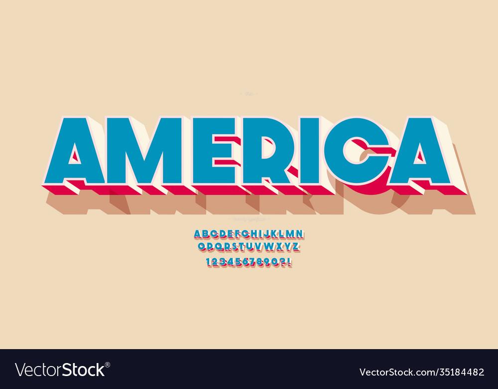 America font 3d color style