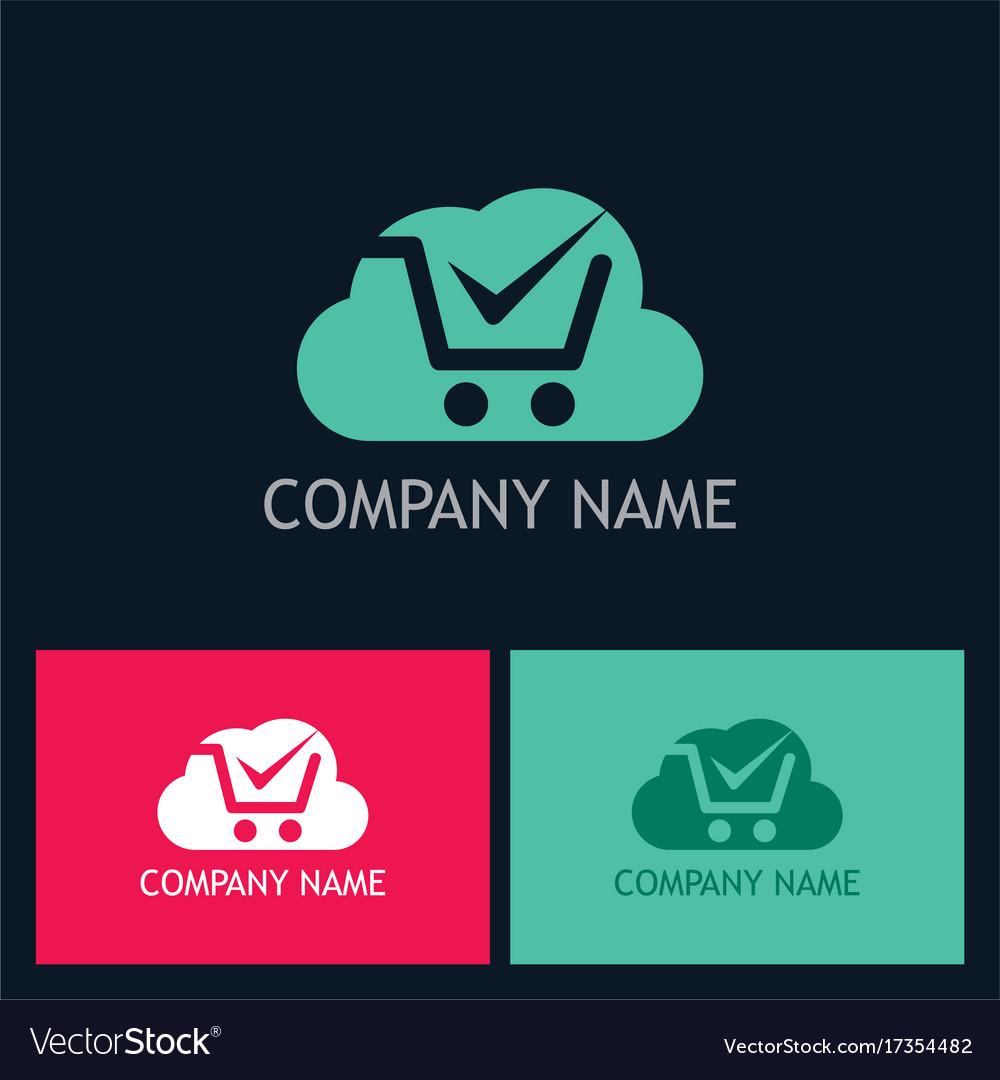 Cloud shop cart logo