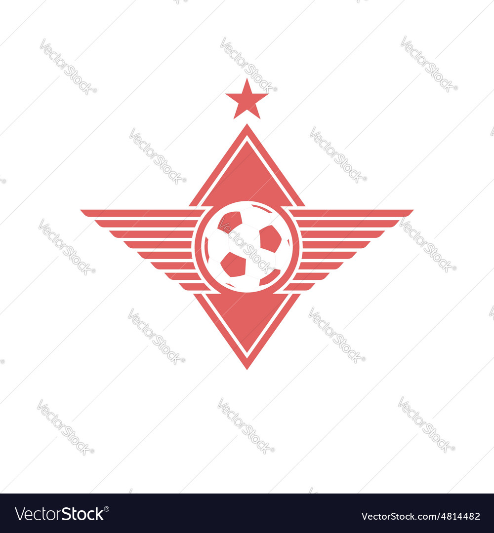 Football ball with wings logo soccer mockup emblem