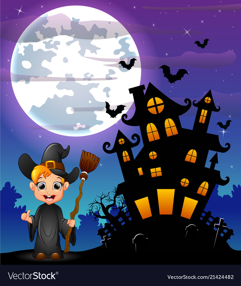 halloween night background with little boy witch h