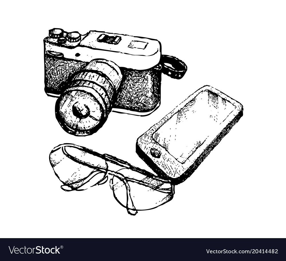 Hand Drawn Camera And Glasses With Smart Phone Vector Image
