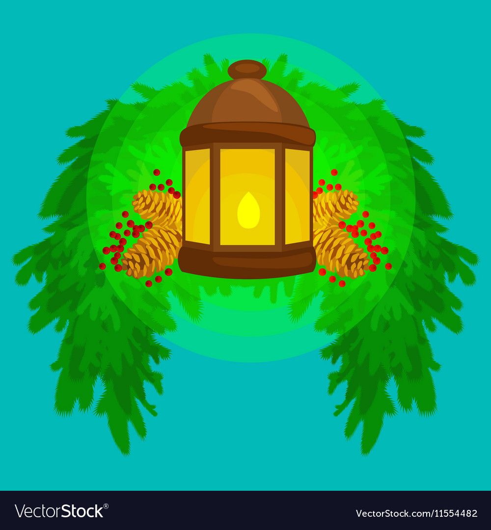 Lantern stands on the spruce branches and candle