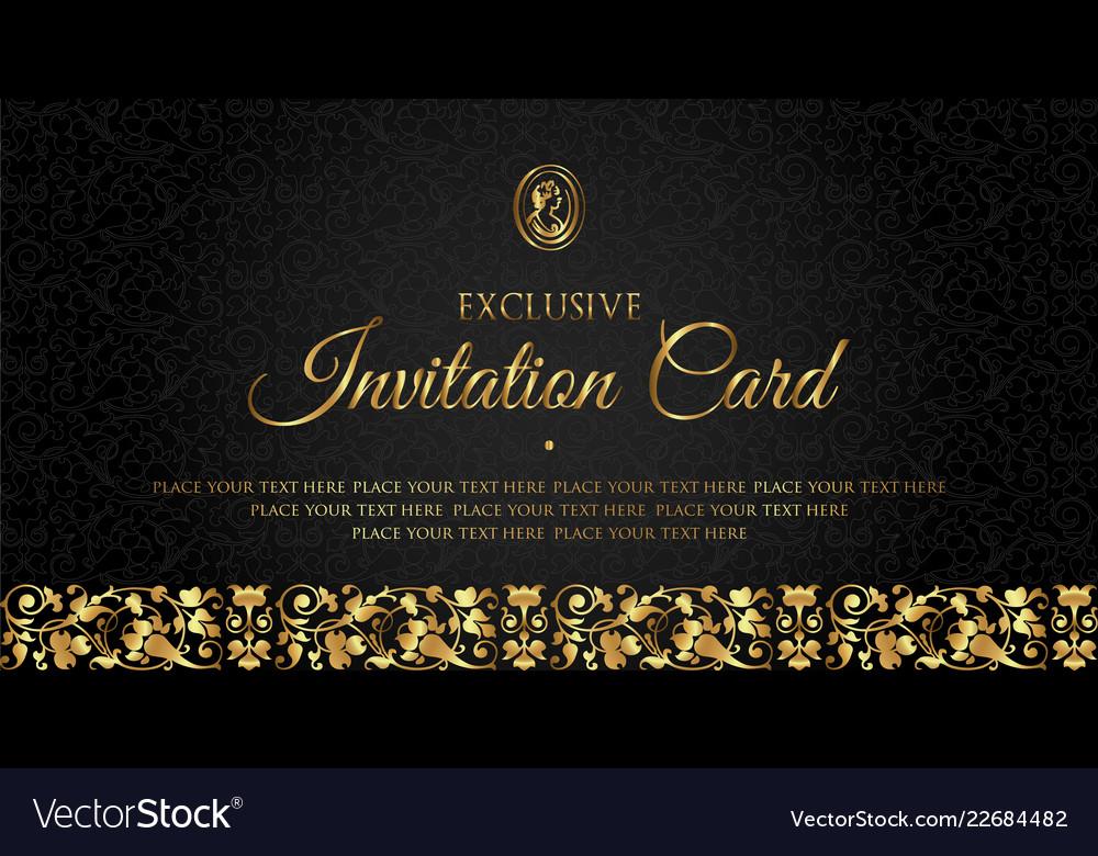 Luxury black and gold invitation card design Vector Image