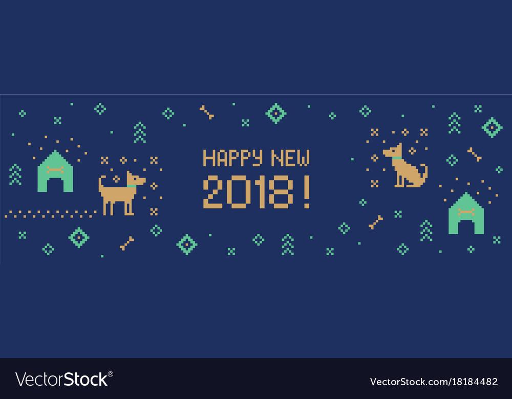 new year 2018 cross stitch dog banner pixel art vector image