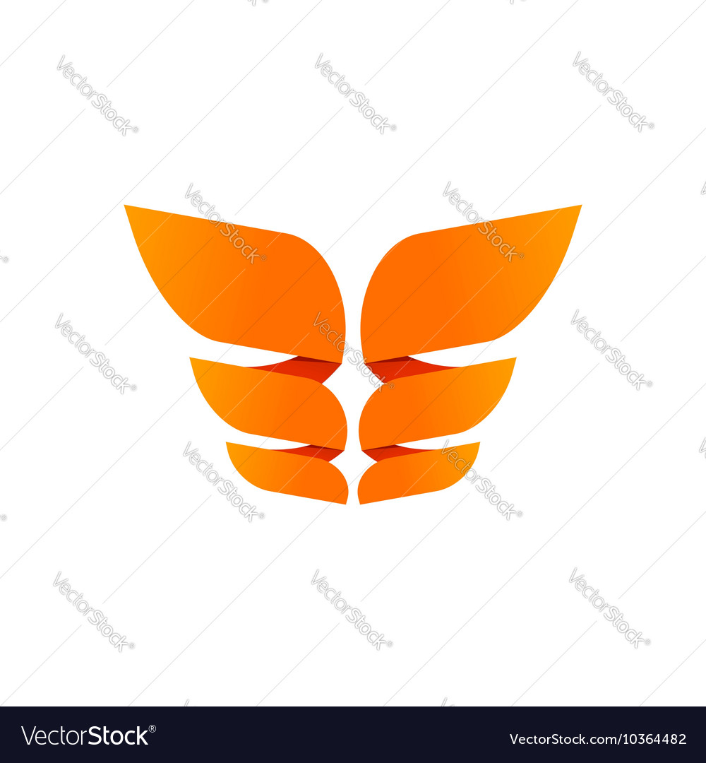 Orange butterfly logo template isolated creative