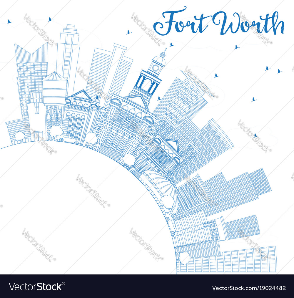 Outline fort worth usa skyline with blue