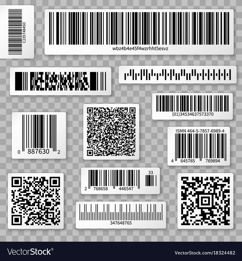 Qr codes bar and packaging labels isolated on