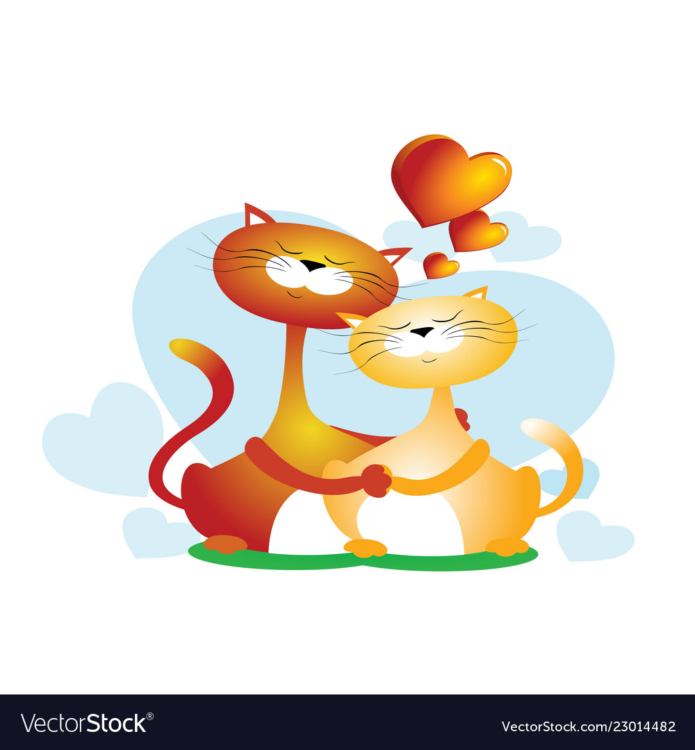 8eb275fa3d4 Retro styled of a couple of cats hugging animals Vector Image