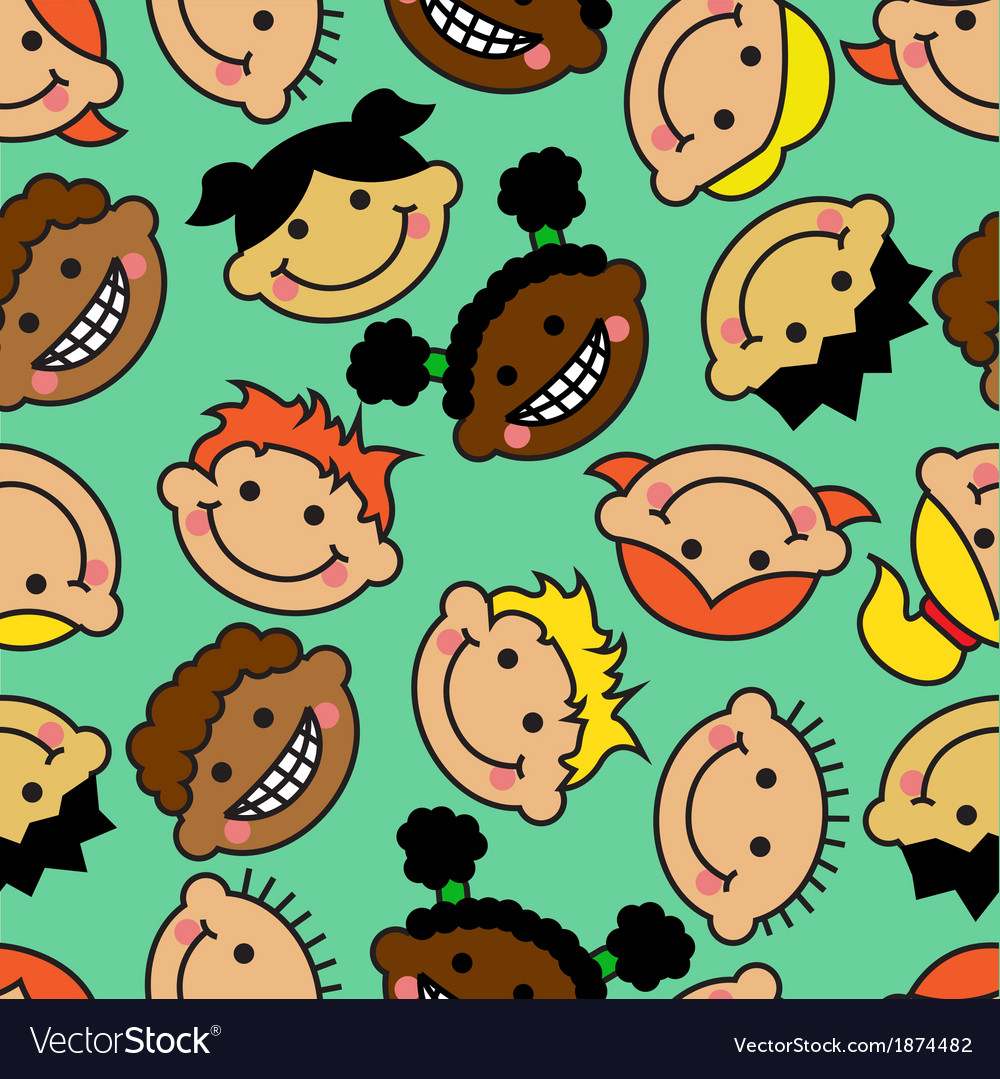 Seamless background with faces of children
