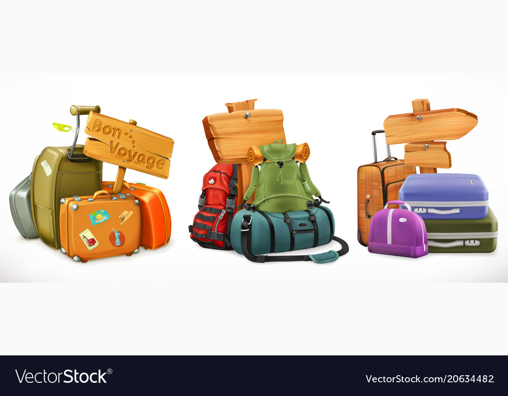 Travel bag backpack suitcase and wooden sign