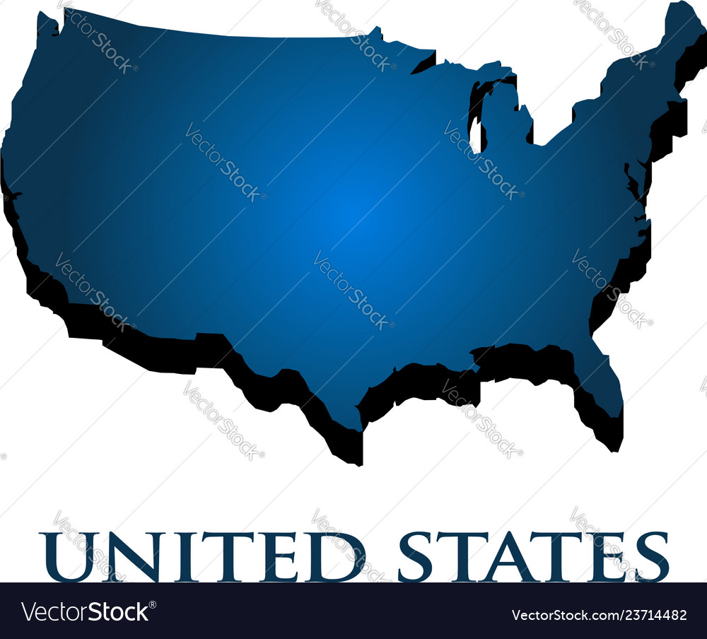 United states country 3d map