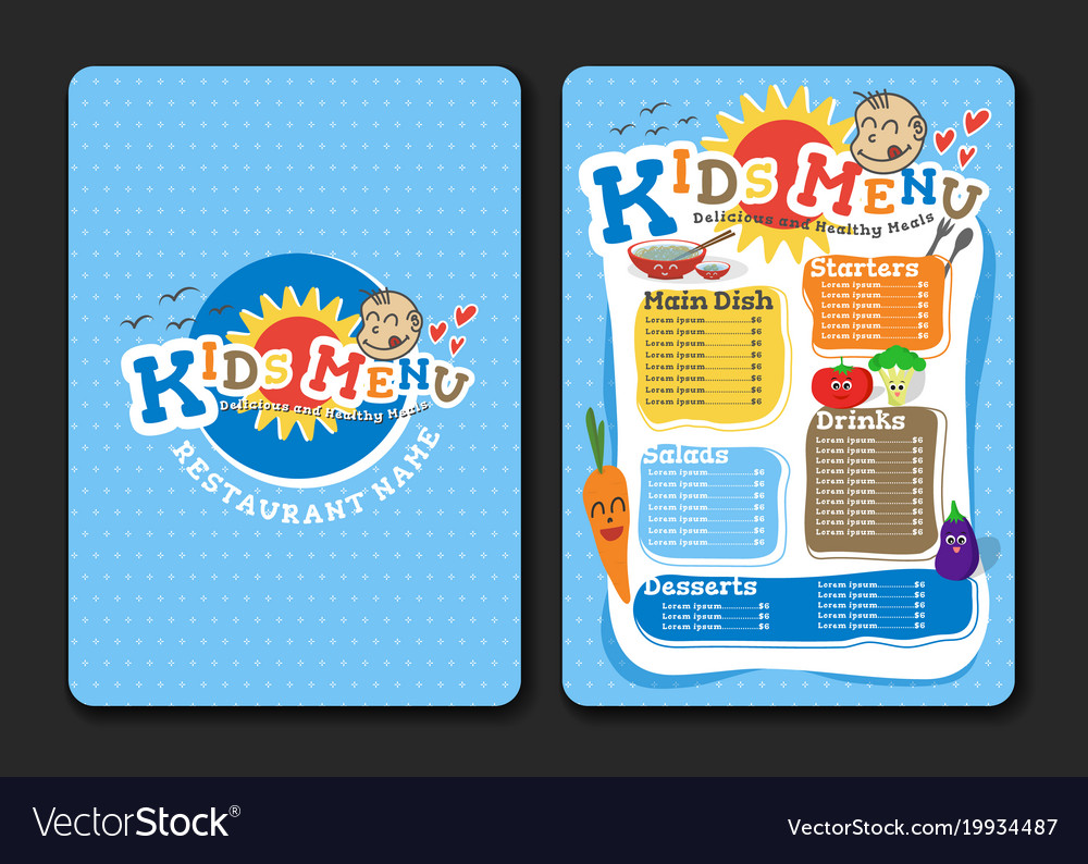 2 pages kids menu design with vegetable