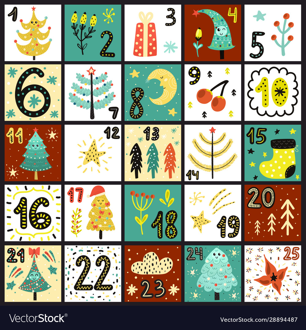 Advent calendar count days to christmas poster