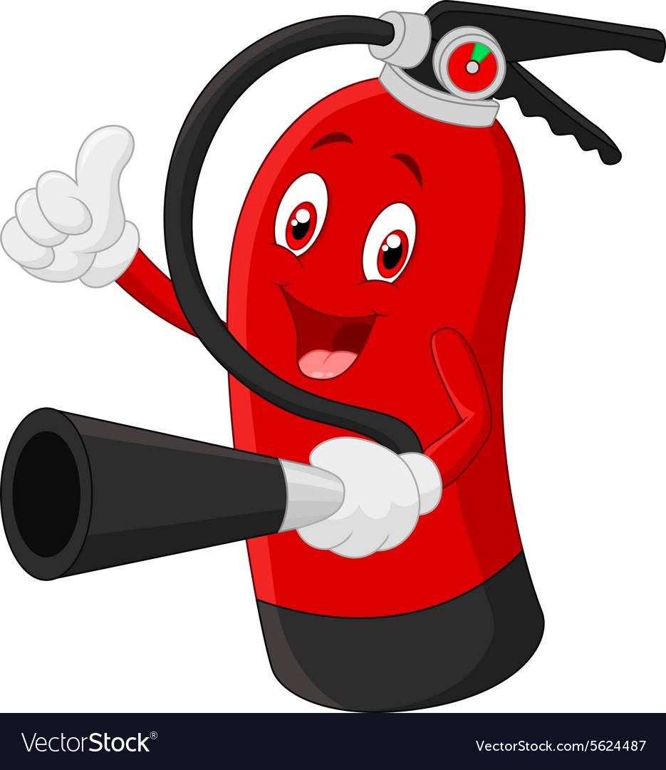 cartoon character of fire extinguisher giving thum rh vectorstock com fire extinguisher sign cartoon cartoon fire extinguisher clipart